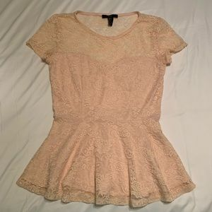 Forever 21 light pink lace blouse